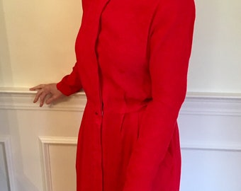 Sz 10/12 Bright Red 100% Silk 1980s Midi Dress by Liz Claiborne