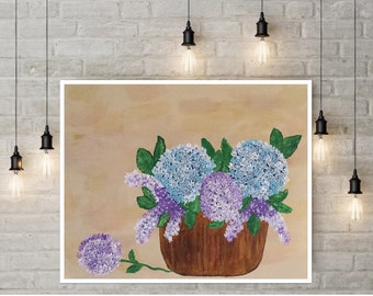 Hydrangea Art - Floral Canvas Art - Hydrangea Painting - Lilacs - Wall Decor - 16 x 20 Painting