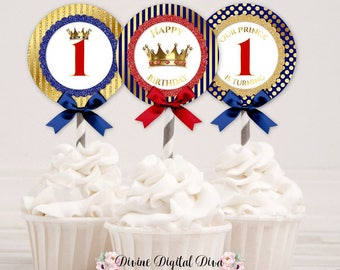 Cupcake Topper Circles First Birthday Boy | Royal Blue Red & Gold Crown Prince | Digital Instant Download