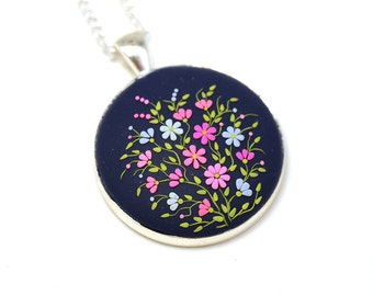 Polymer Clay Necklace Pendant Polymer Clay Jewelry Fashion Jewelry Gif for her Floral Pendant Necklace Polymer clay applique Blue pendant