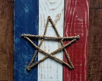 Red White and Blue Rope Star