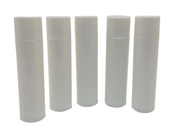 Set of 50 Empty Lip Balm Tubes Lip Balm Containers WHITE