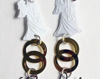 Wedding Earrings Bride & Groom Wedding Rings I Do Dangles White Silver Gold Confetti Plastic Sequins