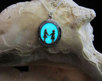 Sister Love pendant with sterling silver chain glow in the dark