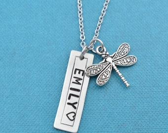 Dragonfly Necklace. Personalized jewelry. Personalized necklace. Initial Necklace. Letter necklace. Custom necklace. Personalized gift
