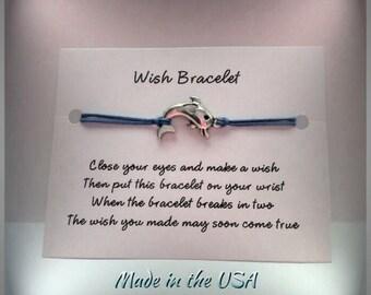 Dolphin wish bracelet, charm bracelet, friendship bracelet, make a wish bracelet, wishing bracelet, luck bracelet, friendship gift,