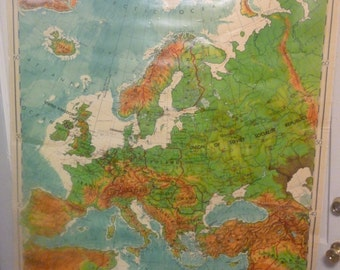 Vintage Denoyer Geppert Classroom Pull Down Map of Europe - 1950's
