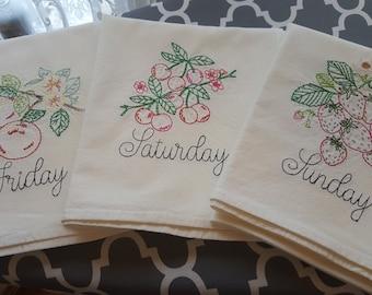 Vintage inspired  Set of 7 Fancy Fruits Days of the week Flour sack towels