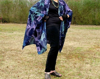 Ruana, Shawl, Kimono, Caftan, Cape, Beach Coverup or Wrap--Bold Beautiful Abstract Design--Polyester Fabric--One Size Fits Most Gypsies