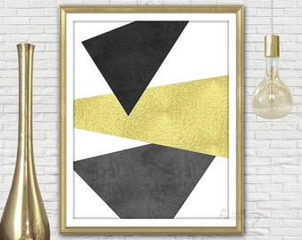 Gold and black decor Abstract art Modern minimalist Instant download Printable art Geometric print Abstract gold wall art abstract print