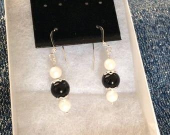 Genuine Swarovski Pearl & Sterling Silver Earrings