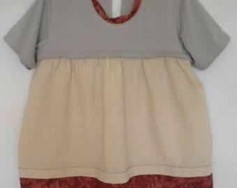 upcycled shirt S M artsy eco clothing recycled rustic cowlgirl shirt mori girl clothing mori kei upcycled clothing country style blouse