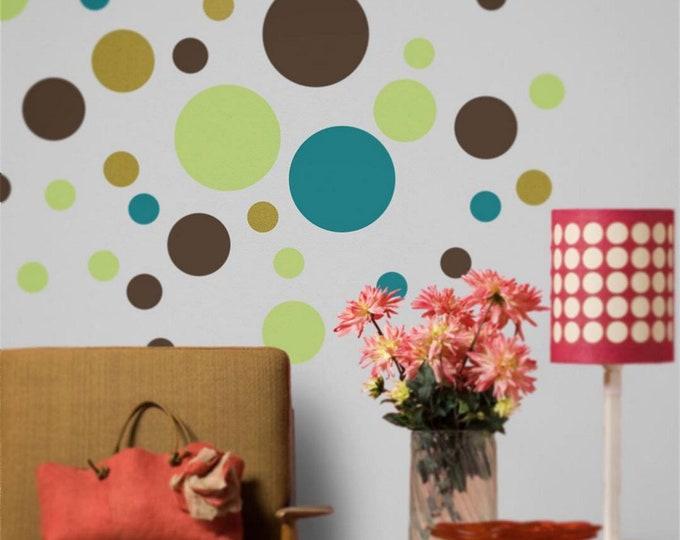 polka dot wall decal set, polka dot sticker art, nursery decor, polka dot design, circles wall decals