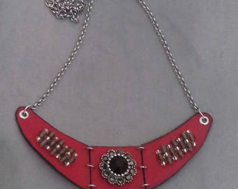 red faux leather bib necklace