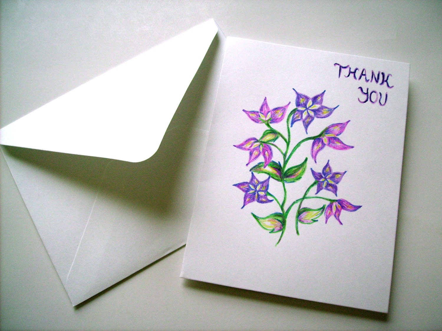 Hand drawn thank you card blank card greeting card floral zoom kristyandbryce Choice Image