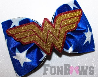 Large Wonder Woman Patriotic Velvet Bow    -  Allstar cheer bow  by Funbows