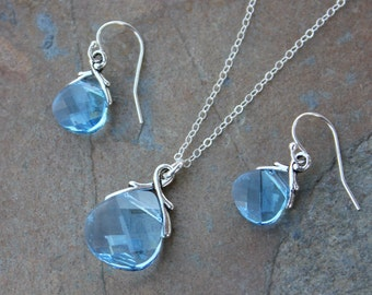 Aquamarine Swarovski crystal briolette necklace & earring set, on sterling silver - light blue- March birthstone - free shipping in USA