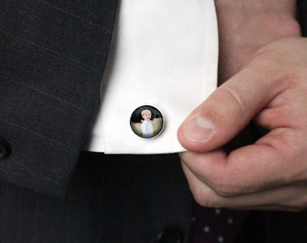 Custom Photo Cufflinks - Personalized with Your Photograph - Customized for Dad, Groomsmen, Husband, Wedding - Memorial Mens Jewelry