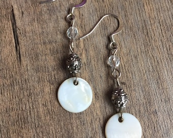 White Capiz Shell & Recycled Textured Bead Long Dangle Earrings / Gifts for Her