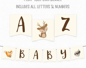 Woodland Baby Shower Banner - Baby Shower Decorations - Congratulations Flag Bunting - Printable Banner - Baby Shower Banner - Woodland