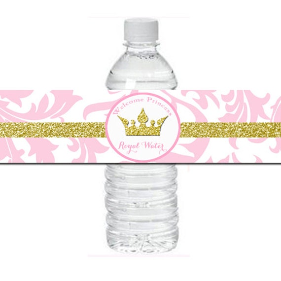 Pink Princess Baby Shower Water Bottle Labels Printable Pink