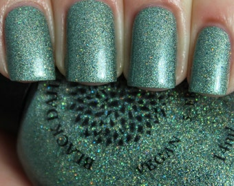 Mint Green Crelly Nail Polish with Micro Glitter and Shifting Shimmer -- Mokihana - Vegan Poland by Black Dahlia Lacquer