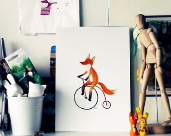 Cycling fox print - A4, bicycle art