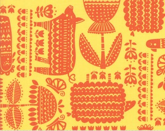 Farm Fun by Moda, 20532 13 Sunshine, Stacy Iest Hsu, Yellow and Orange Farm Animal Fabric, Baby & Children's Fabric, 100% Cotton