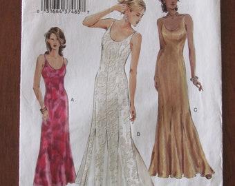 VOGUE DRESSMAKING PATTERN - 7824 Ladies Dress, Close-fitting, Evening, Godets, Shoulder Straps, Scoop Neckline, Size 12 - 16 & 18 - 22 Uncut