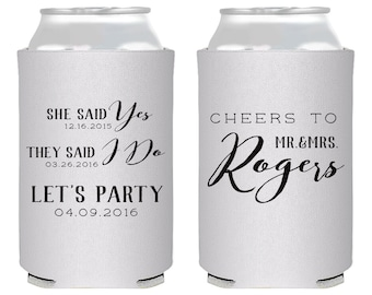 Personalized Wedding Favors, Wedding Favors, She Said Yes, Cheers Wedding Favors, Custom Shower Favors, Wedding Can Coolers, Weddings, 1400