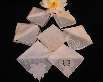 Seven Vintage Brides Handkerchiefs