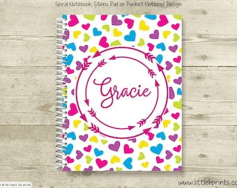 Bright Hearts Arrow Monogram Personalized Spiral Notebook Back to School Notebook Red Yellow Blue Orange Purple