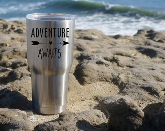 Yeti Cup Decal, Adventure Awaits Decal, Yeti Decal, Yeti Cup Adventure Decal, Yeti Sticker, Yeti Cup, Personalized Decal, Adventure Awaits