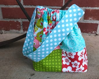 Patchwork little girl purse elastic small bag for her