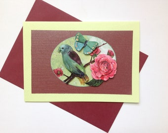 handmade card, 3D bird birthday collection, thanks, all occasions, happy birthday card,