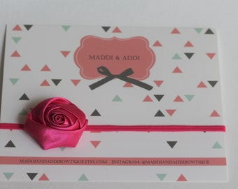 SALE Tiny Satin Pink Rose Headband