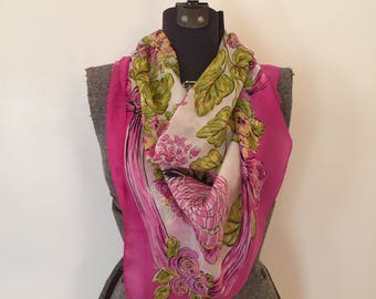 Vintage Novelty Print Scarf / Leaves and Bows