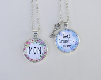 "18"" Personalized Mother's Day Necklaces – Glass Cabochon Silver Jewelry for Moms"