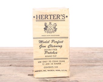 Vintage Herter's Model Perfect 12 16 Gauge Gun Cleaning Patches / Hunting Room Decor / Camping Decorations / Fishing Decor / Outdoor Decor