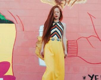 M | 90's High Waisted Yellow Maxi Skirt