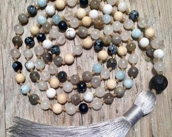 Gemstone Mala necklace, Meditation Mala, 108 Mala, Yoga Necklace, Gemstone Mala, Labradorite Mala, Boho Necklace, Aquamarine Mala, Prayer Be