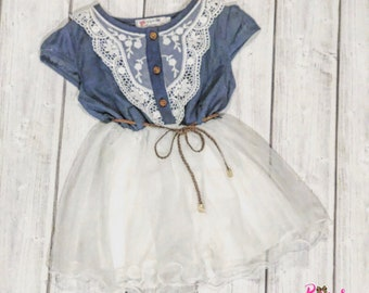 Country Dress, Blue Denim Dress, Country Clothing, Flower Girl Dress, Wedding Party Dress, Little Girl Dress, Girls Dress, Toddler Dress