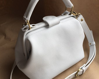 White leather bag