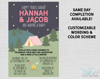 Camping Outdoors Baby Shower Invitation Digital Printable File