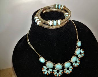 silver turquoise necklace and bracelet set