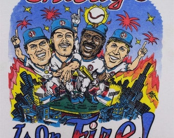 Vintage 1980's 50/50 Chicago Is On Fire Cubs #1 Sandberg Grace Dawson Williams Baseball T - Shirt World Series 2016 champions