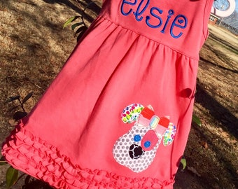 Personalized Appliqué Puppy Dog Sundress