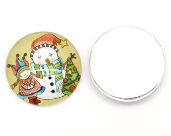 Cabochon round 20mm glass snowman pattern