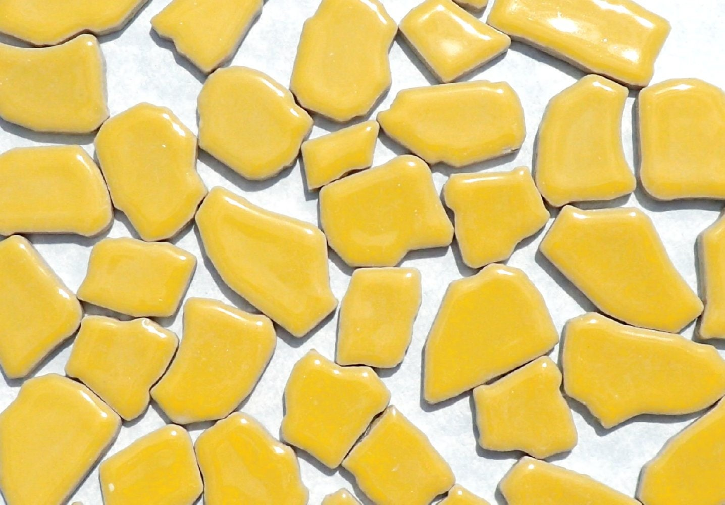 Yellow Mosaic Ceramic Tiles - Random Shapes - Half Pound - Assorted ...