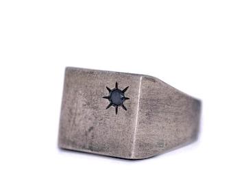Square Silver Signet Ring-Mens Silver Signet Ring-For Designer-Matte Grange-Men Jewelry-Classic square signet ring-Black Diamond ring-ברש-MJ